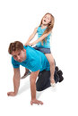 Father and daughter play horse-ride Stock Photo