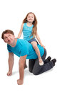 Father and daughter play horse-ride Stock Photography