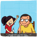 Father and daughter playing chess for father s day cute with her on sky blue background happy celebration Royalty Free Stock Images