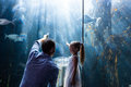 Father and daughter pointing a fish in the tank at aquarium Stock Photo