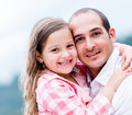 Father and daughter portrait of a happy smiling outdoors Royalty Free Stock Photos