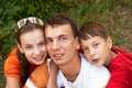 Father with daughter and son Royalty Free Stock Photography