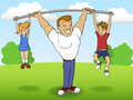 Father of a family playing sports with children Royalty Free Stock Image