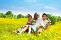 Father with happy family his sons sitting on the lawn in the park on sunny day Royalty Free Stock Photo