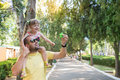 Father is having fun with his little daughter, a walk, summer ho Royalty Free Stock Photo