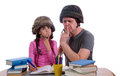 Father helping daughter with a homework assignment studio shoot Stock Photo