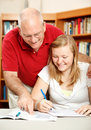 Father Helps Daughter Study Royalty Free Stock Photos