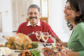 Father And His Adult Daughter For Christmas Dinner Royalty Free Stock Image