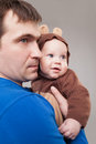 Father with his baby boy portrait of bear Stock Images