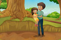 A father and his daughter at the forest illustration of Royalty Free Stock Photo