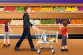 Father and his kids doing grocery shopping a vector illustration of together Royalty Free Stock Images