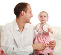 Father his little daughter studio white background Royalty Free Stock Image