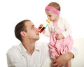 Father his little daughter studio white background Royalty Free Stock Photo