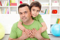 Father and his preschool boy Stock Photography