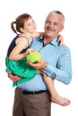 Father holding child isolated on white background Royalty Free Stock Images