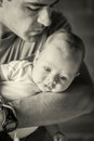Father Holding Newborn Baby Boy Royalty Free Stock Photo