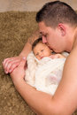 Father hugging baby Royalty Free Stock Photo