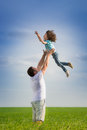 Father and kid outdoor Royalty Free Stock Photo