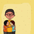 Father with kids happy father s day celebration concept smiling loving and hugging his on hearts decorated yellow background for Royalty Free Stock Images
