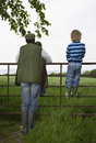 Father with kids looking at lush landscape by fence full length rear view of two children Stock Photography