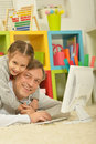 Father and little daughter  with computer Royalty Free Stock Photo