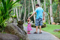 Father and little daughter at tropical park Stock Photography