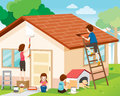 Father, Mother, Son And Daughter Repairing Home Exterior