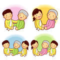 Father and mother to help the elderly. A family Character Design Stock Photography