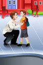 Father picks up his son from school a vector illustration of Royalty Free Stock Photography