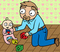 Father playing with baby girl in children's room Royalty Free Stock Photography