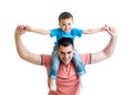 Father playing with kid son isolated on white Royalty Free Stock Photo