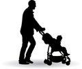 Father pushing a pram