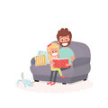 Father read a storybook to his daughter on a couch. Dad with kid on a couch together. Cute illustration of parenthood