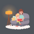 Father read a storybook to his daughter at night. Dad with kid on a couch together. Cute illustration of parenthood