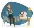 stock image of  Father reading bedtime story to his daughter. Funny cartoon characters