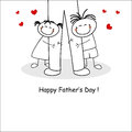 Father s day card greeting with kids Stock Image