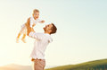 Father`s day. Happy family father and toddler son playing and la Royalty Free Stock Photo