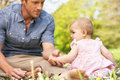 Father Sitting With Baby Girl In Field Stock Photo