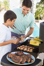 Father And Son Barbequing Stock Image