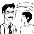 Father and son black comics style cartoon illustration of a conversation over white Stock Image