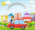 A father and son cleaning the red car illustration of Royalty Free Stock Images