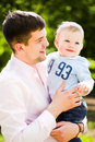 Father and son embrace Royalty Free Stock Image