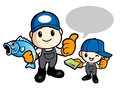 Father and son are holding fish work and job character design s series Royalty Free Stock Photos