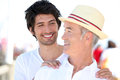 Father and son on holiday together Stock Photo