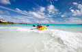 Father and son kayaking at tropical ocean Stock Photo