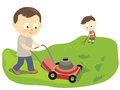 Father and son mowing and raking a the lawn helping to clean Royalty Free Stock Photo
