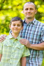 Father and son outdoor in a forest Royalty Free Stock Photos