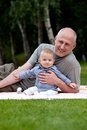 Father and son outdoors portrait Royalty Free Stock Photo