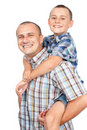 Father and son piggyback Stock Images