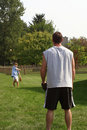 Father and Son Playing catch Stock Photography